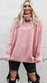 wow factor turtleneck sweater [blush]