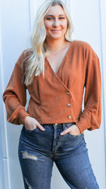 camel ribbed wrap button details long sleeve
