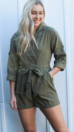 olive suede wrap romper