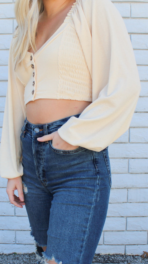 taupe crop with bubble sleeves