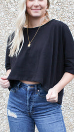 cute mood sweatshirt crop [black]