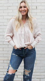 textured button down collar long sleeve