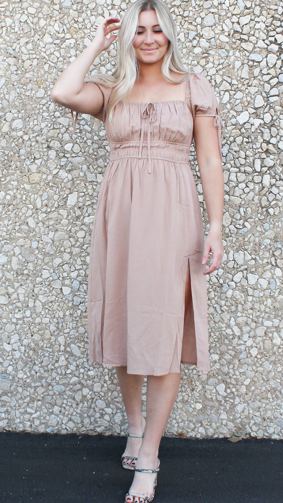 smocked midi dress with slit in taupe