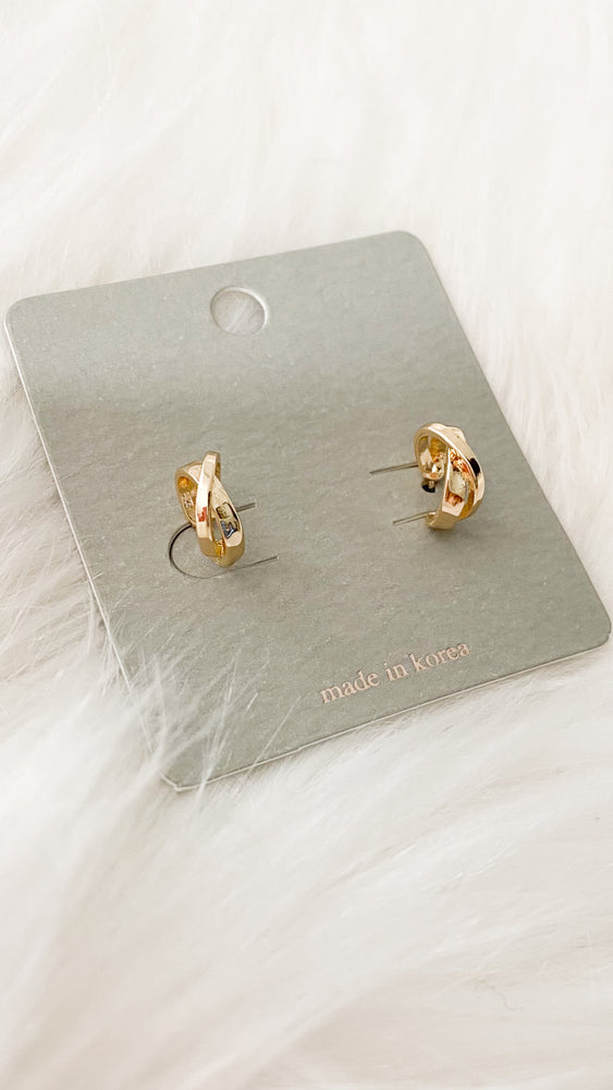 mini twist post earrings [gold]