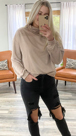 chilly morning turtleneck sweatshirt [mocha]