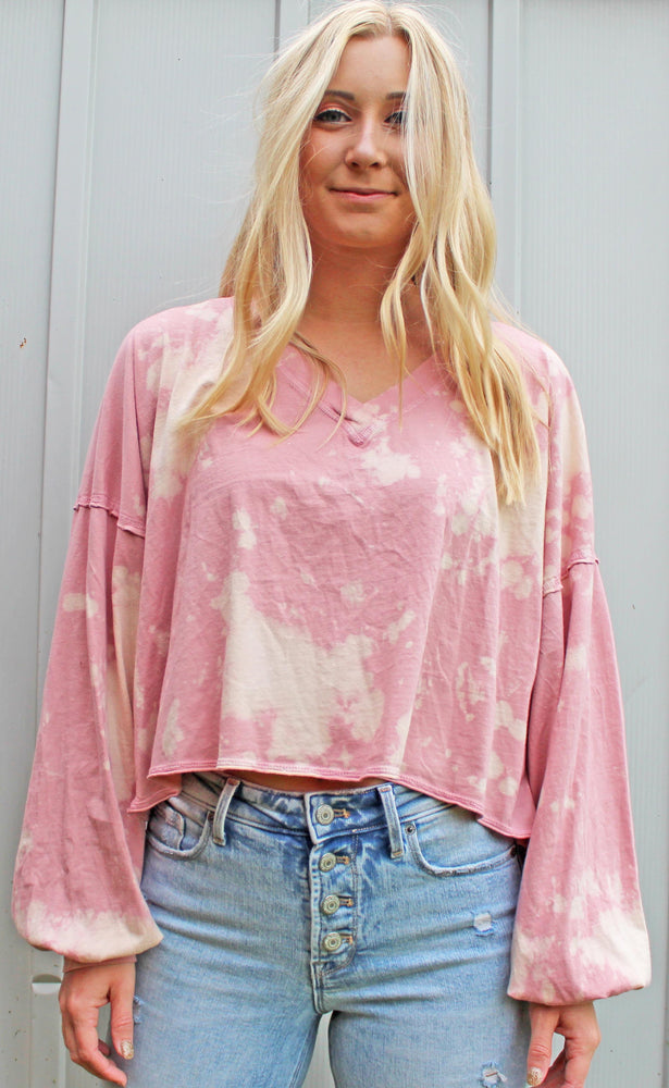 free spirit tie dye crop [pink] - Grace and Edge Boutique