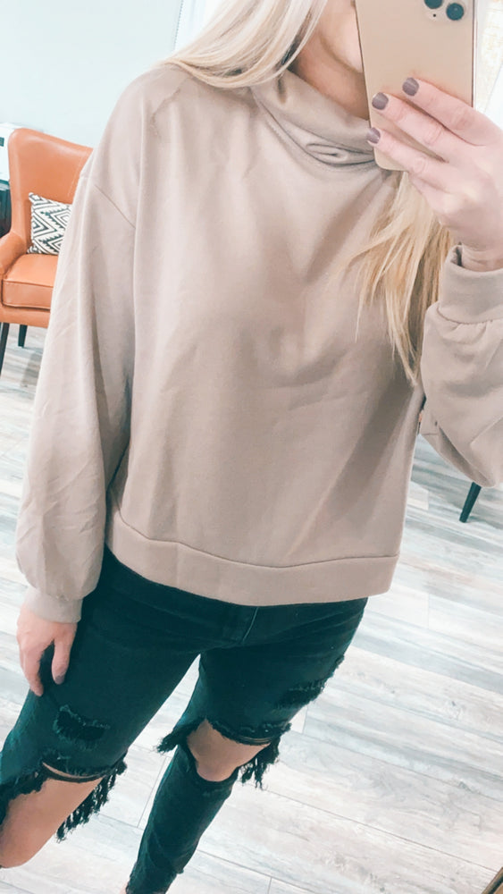 chilly morning turtleneck sweatshirt [mocha] - Grace and Edge Boutique