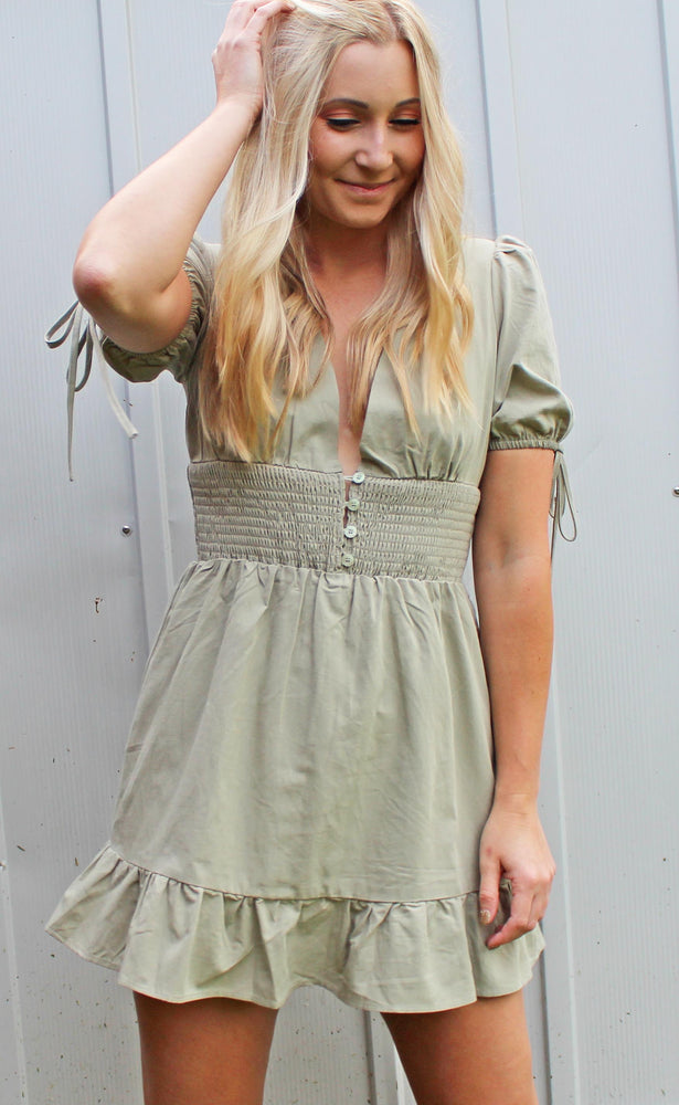 palm & prosecco dress [olive] - Grace and Edge Boutique