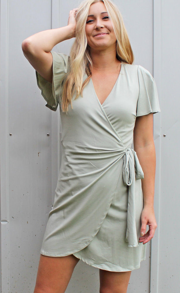 passport to paradise wrap dress [sage] - Grace and Edge Boutique