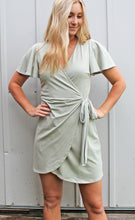 Load image into Gallery viewer, passport to paradise wrap dress [sage] - Grace and Edge Boutique