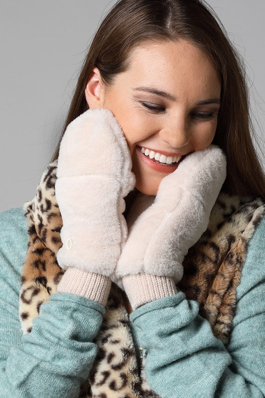 faux fur mittens w/ pop top [ivory] - Grace and Edge Boutique