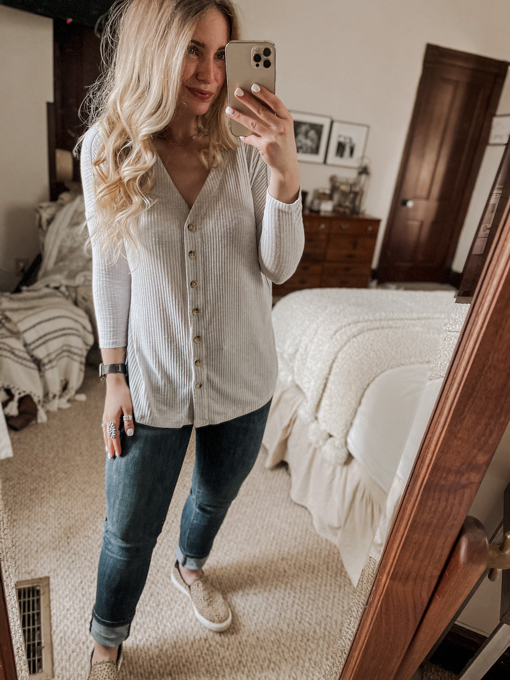 Ribbed Knit Button Down