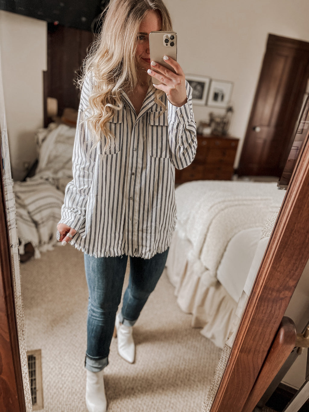 Navy Button Down