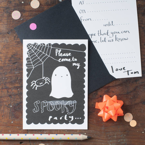 Pack of six double sided Halloween Party Invites
