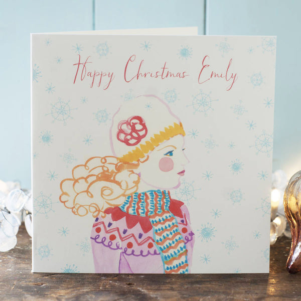 Christmas card personalised for a daughter or granddaughter