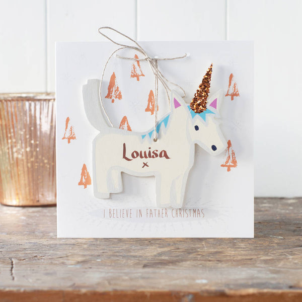 Christmas Unicorn Decoration With Personalised Card