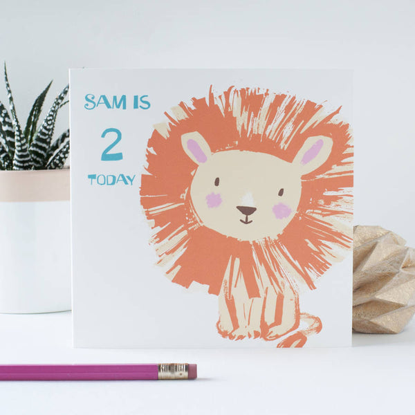 Cute Lion Birthday Card Personalised
