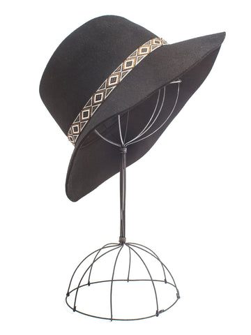 Naomi, Wide Brimmed Wool Felt Fedora with Woven Tribal Band
