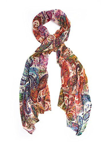 Scarves - Kalia Scarf, 100% Wool Paisley Scarf or Shawl -(Rainbow Ombre / One Size) Bohomonde  - 1