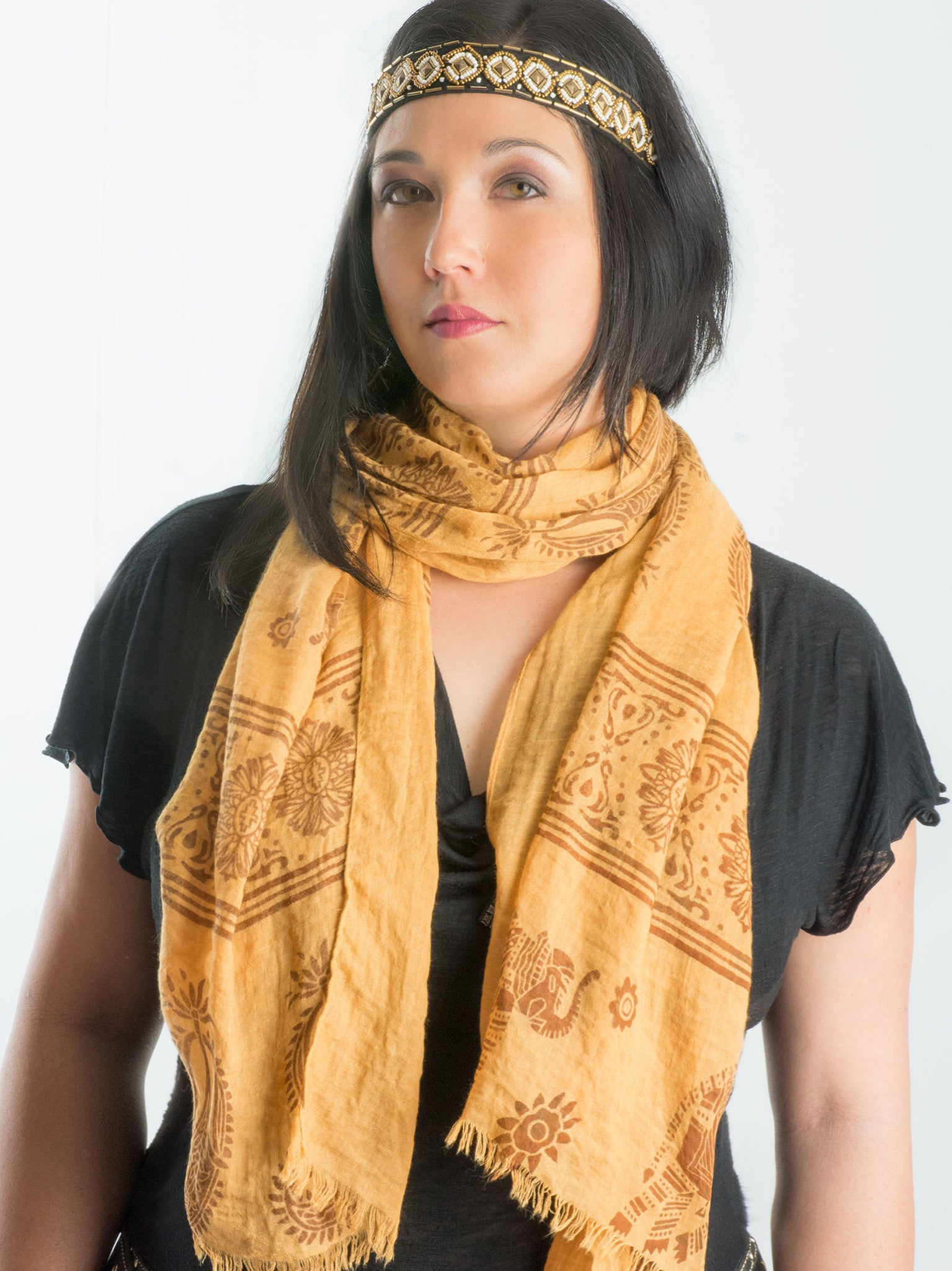 Scarves - Gajai Shawl,100% Cotton Paisley Indian Elephant Print Scarf -() Bohomonde  - 2