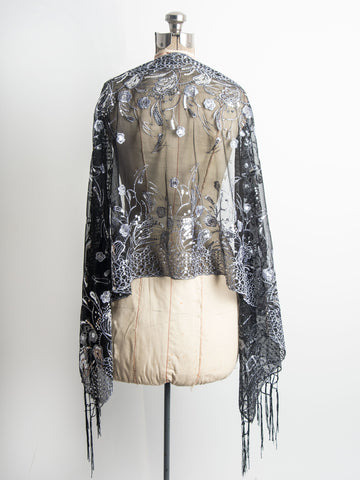 Scarves - Amaryllis Shawl, Vintage Inspired Sequin Evening Wrap, Embroidered Sequin Shawl, Scarf -() Bohomonde  - 2