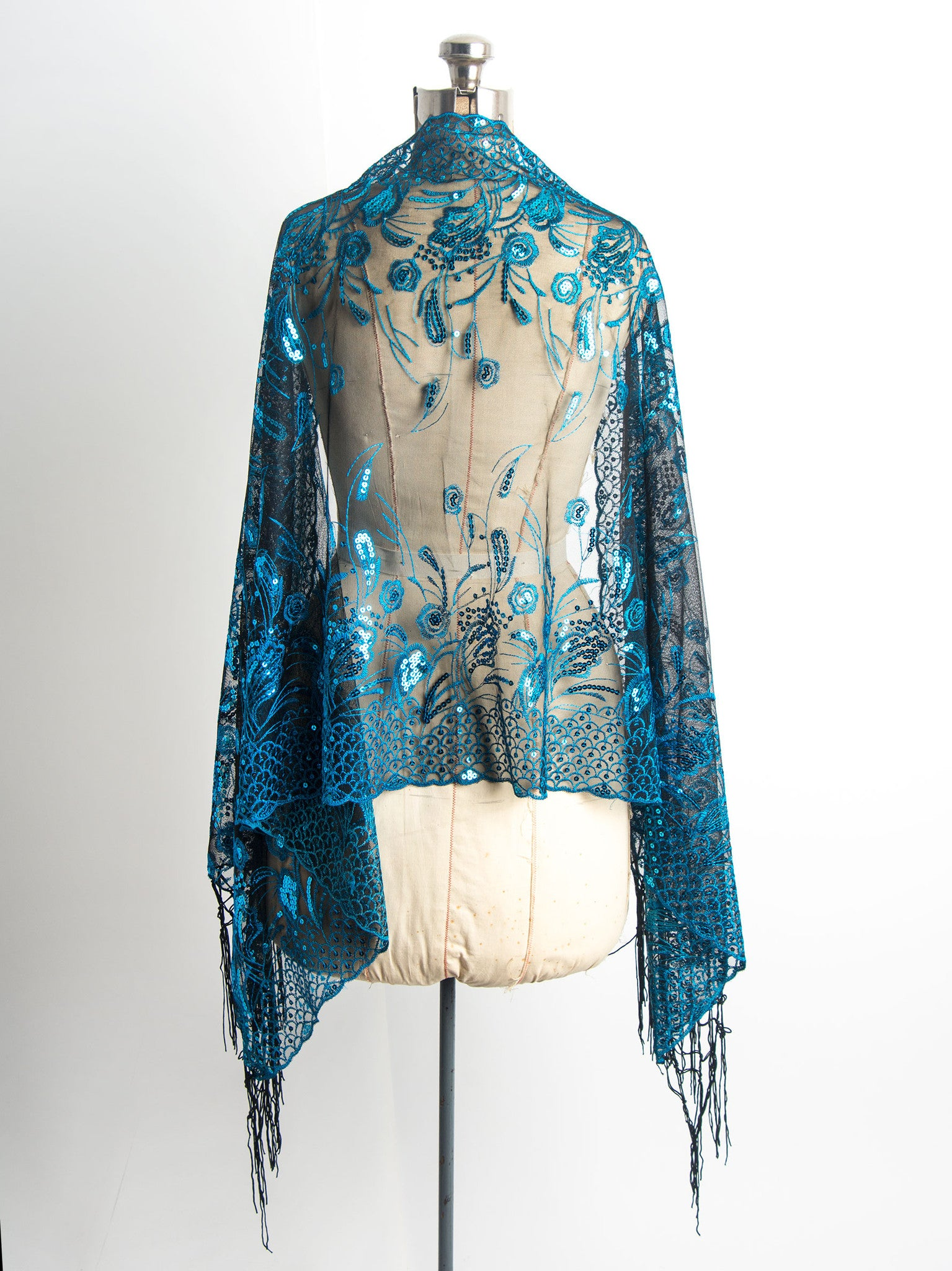 Scarves - Amaryllis Shawl, Vintage Inspired Sequin Evening Wrap, Embroidered Sequin Shawl, Scarf -() Bohomonde  - 4