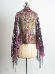 Scarves - Amaryllis Shawl, Vintage Inspired Sequin Evening Wrap, Embroidered Sequin Shawl, Scarf -() Bohomonde  - 6
