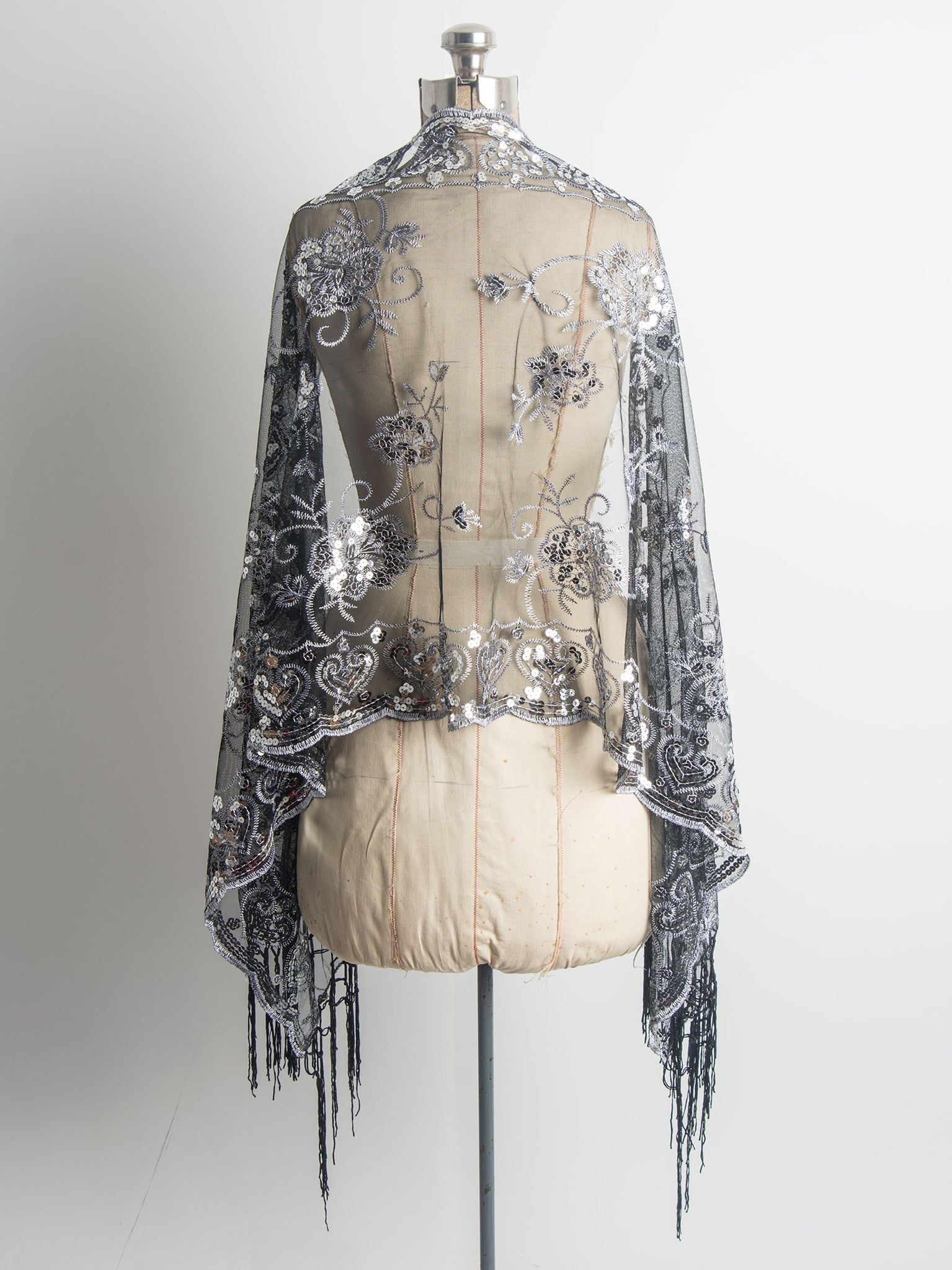 Scarves - Madison Shawl, Long Fringe Sequin Evening Wrap -() Bohomonde  - 15