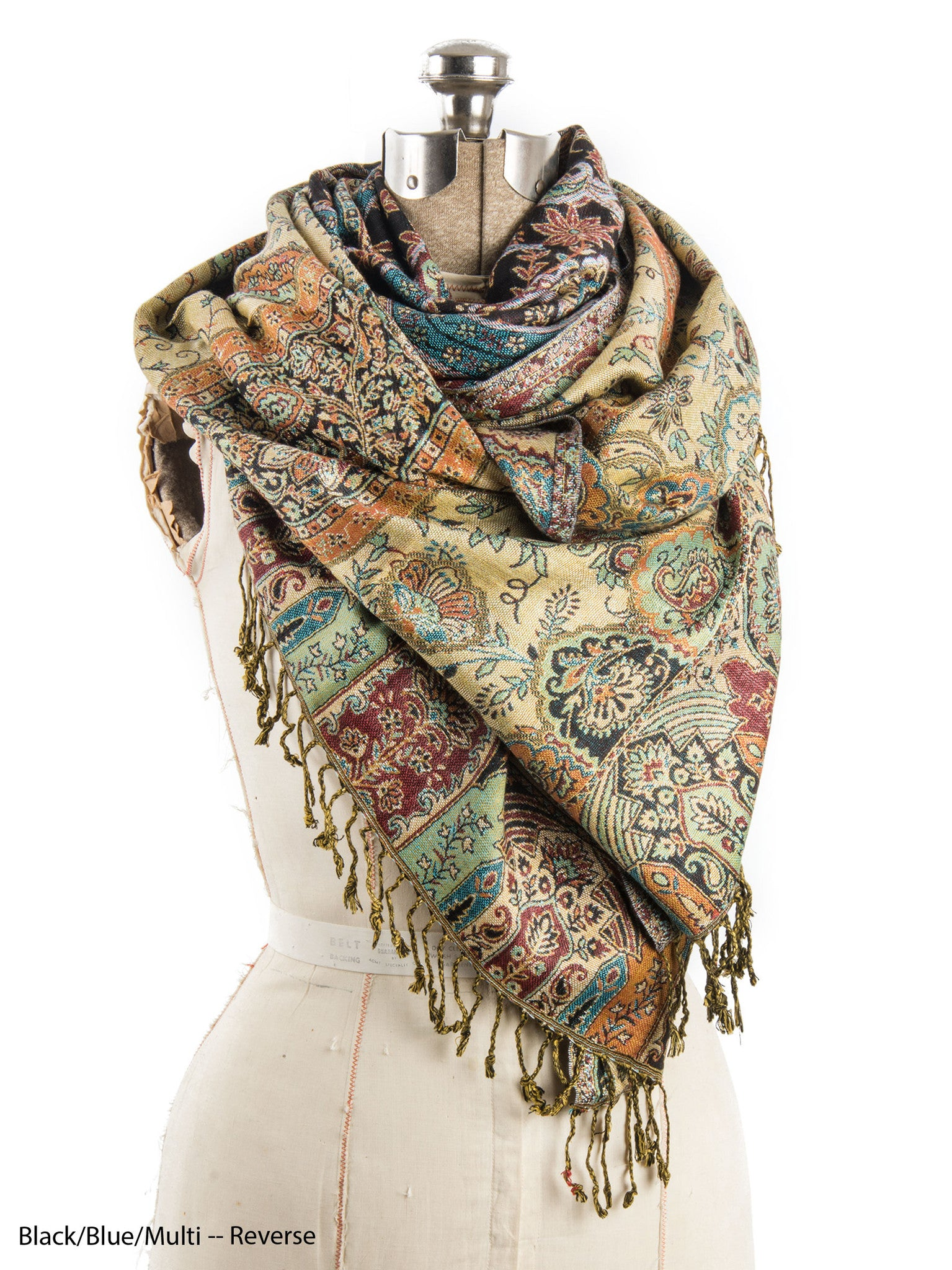 Scarves - Hana Reversible Cashmere Silk Pashmina Scarf, hand made in India -() Bohomonde  - 6