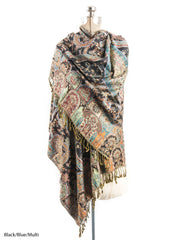 Scarves - Hana Reversible Cashmere Silk Pashmina Scarf, hand made in India -() Bohomonde  - 7