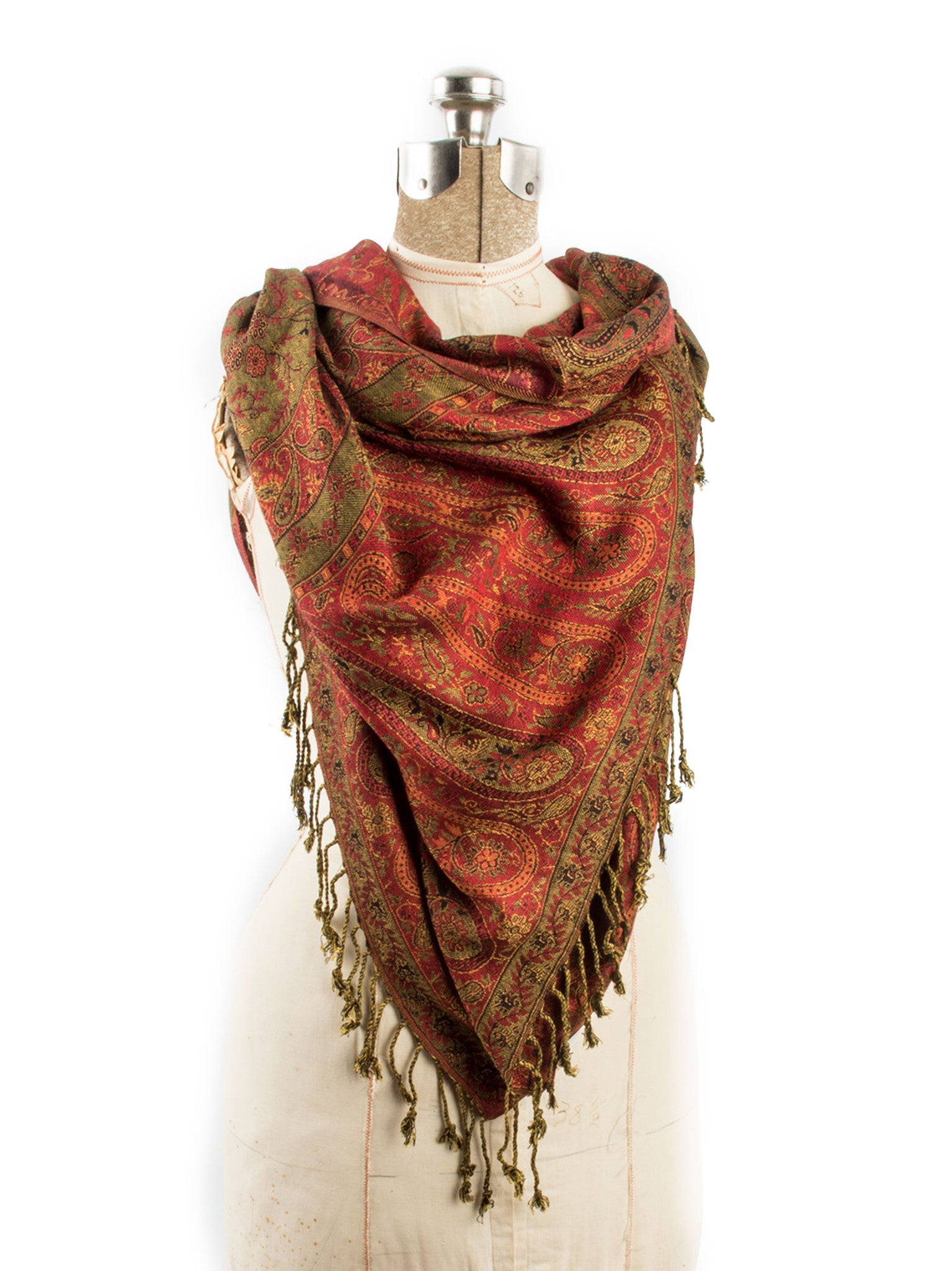Scarves - Bhayana Reversible Cashmere Silk Pashmina Scarf, hand made in India -() Bohomonde  - 5