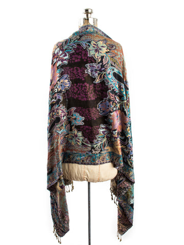 Scarves - Bethshaya Reversible Cashmere Silk Pashmina Scarf, hand made in India -() Bohomonde  - 2