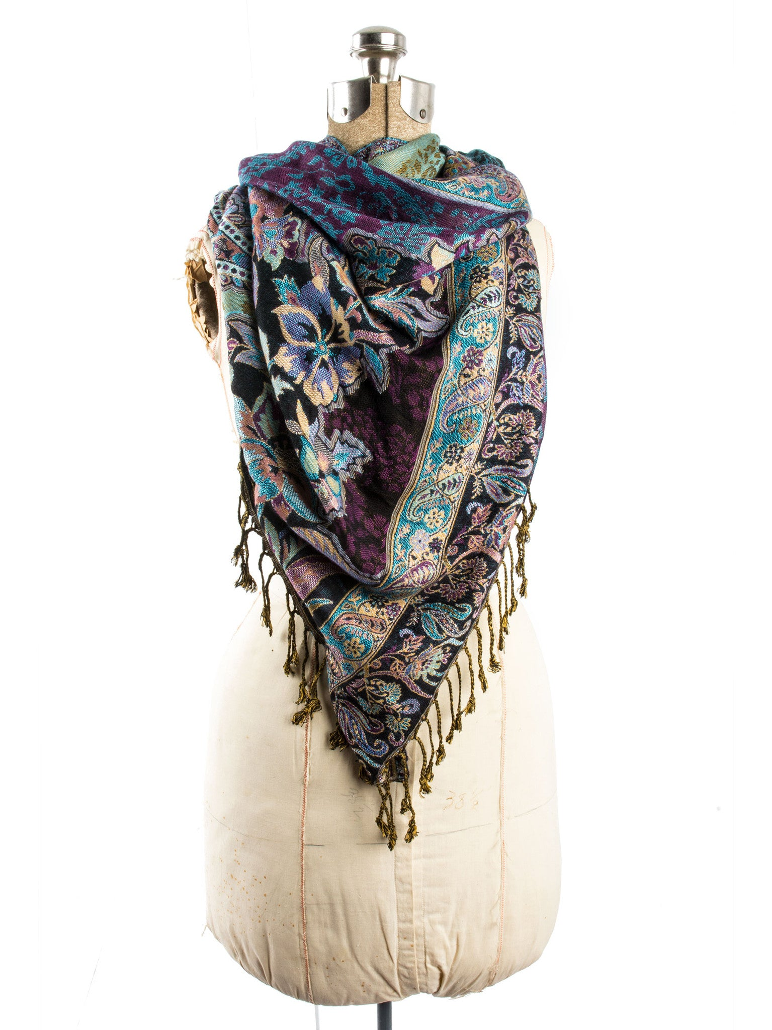 Scarves - Bethshaya Reversible Cashmere Silk Pashmina Scarf, hand made in India -() Bohomonde  - 4