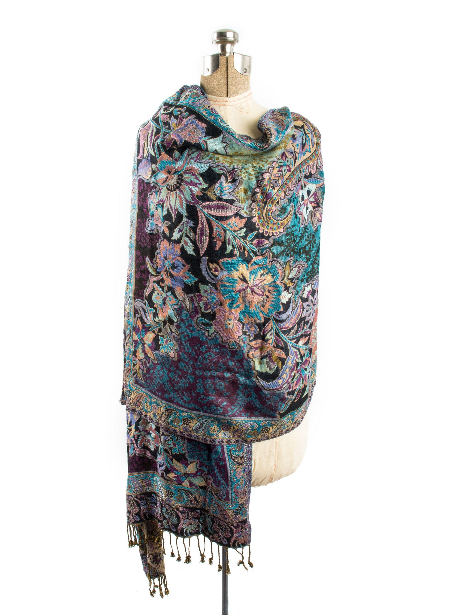 Scarves - Bethshaya Reversible Cashmere Silk Pashmina Scarf, hand made in India -() Bohomonde  - 5