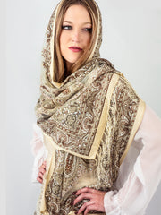 Scarves - Eleanora Scarf. Fringed Sheer Burnout Fleur de Lis Scarf -() Bohomonde  - 2