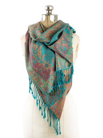 Scarves - Amrita Scarf, Pashmina Indian Paisley Traditional Jacquard Shawl -() Bohomonde  - 2