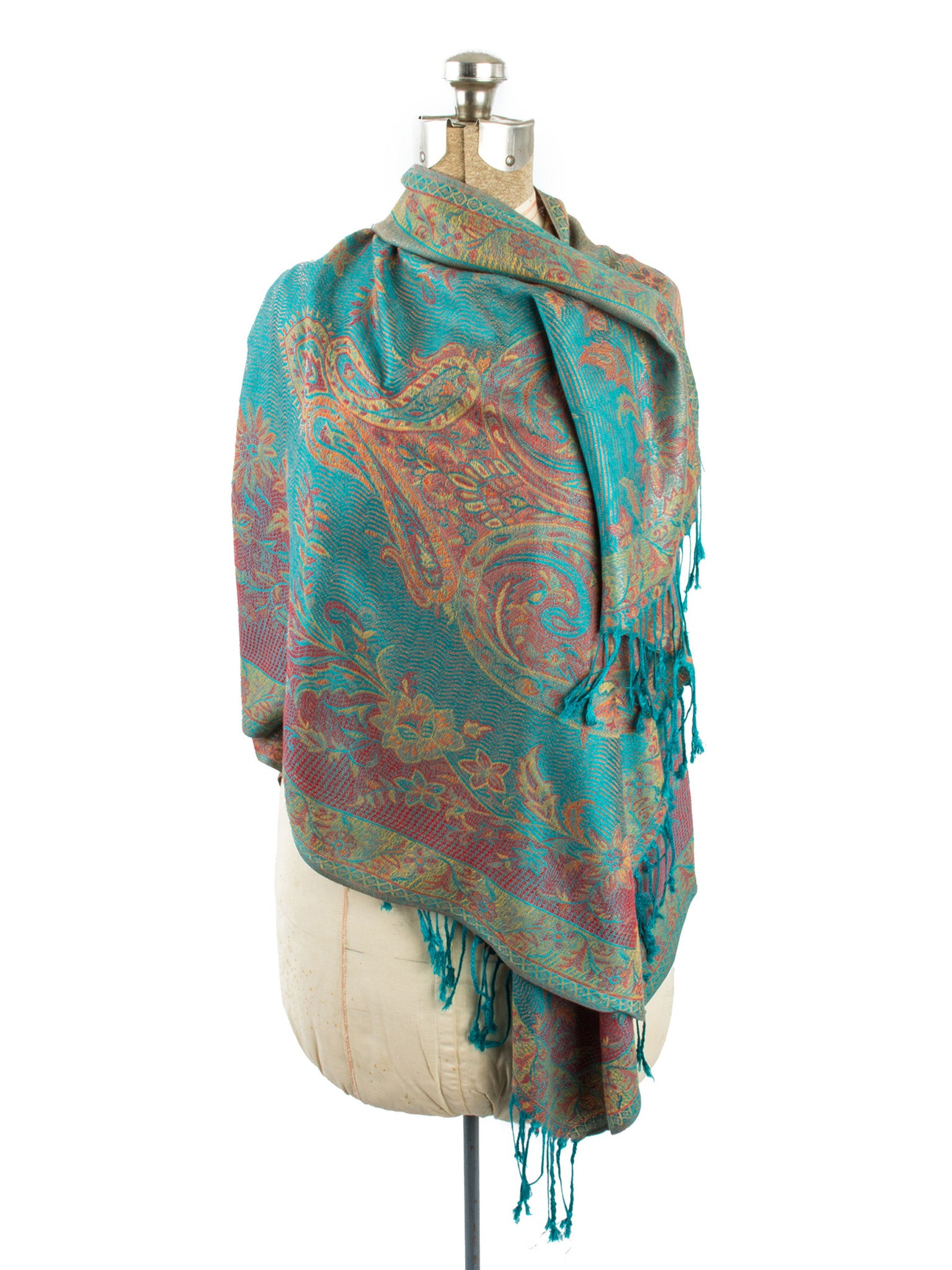 Scarves - Amrita Scarf, Pashmina Indian Paisley Traditional Jacquard Shawl -() Bohomonde  - 4