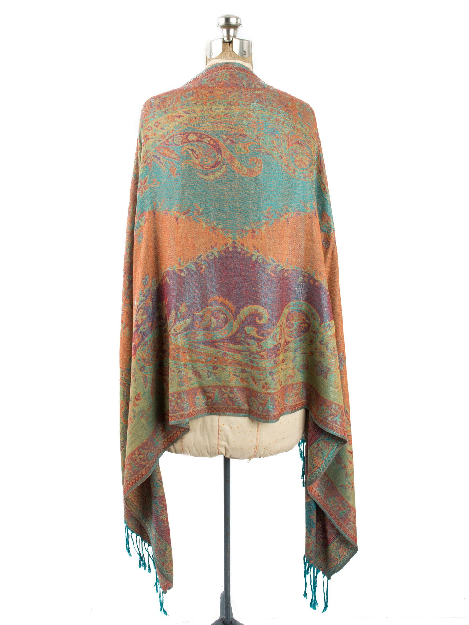 Scarves - Amrita Scarf, Pashmina Indian Paisley Traditional Jacquard Shawl -() Bohomonde  - 6