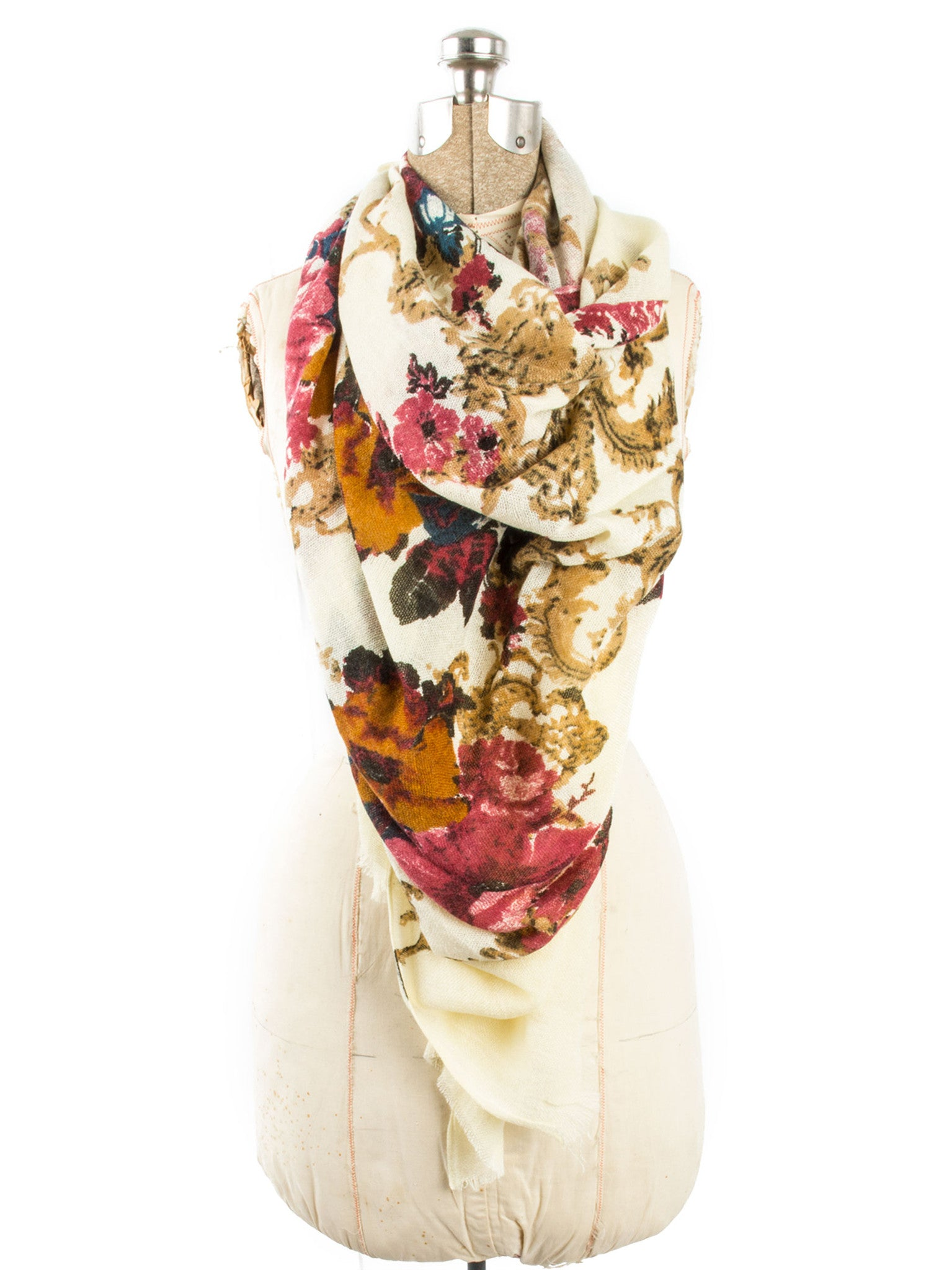 Scarves - Eleanor blanket scarf, oversized winter scarf, floral scarf -() Bohomonde  - 9