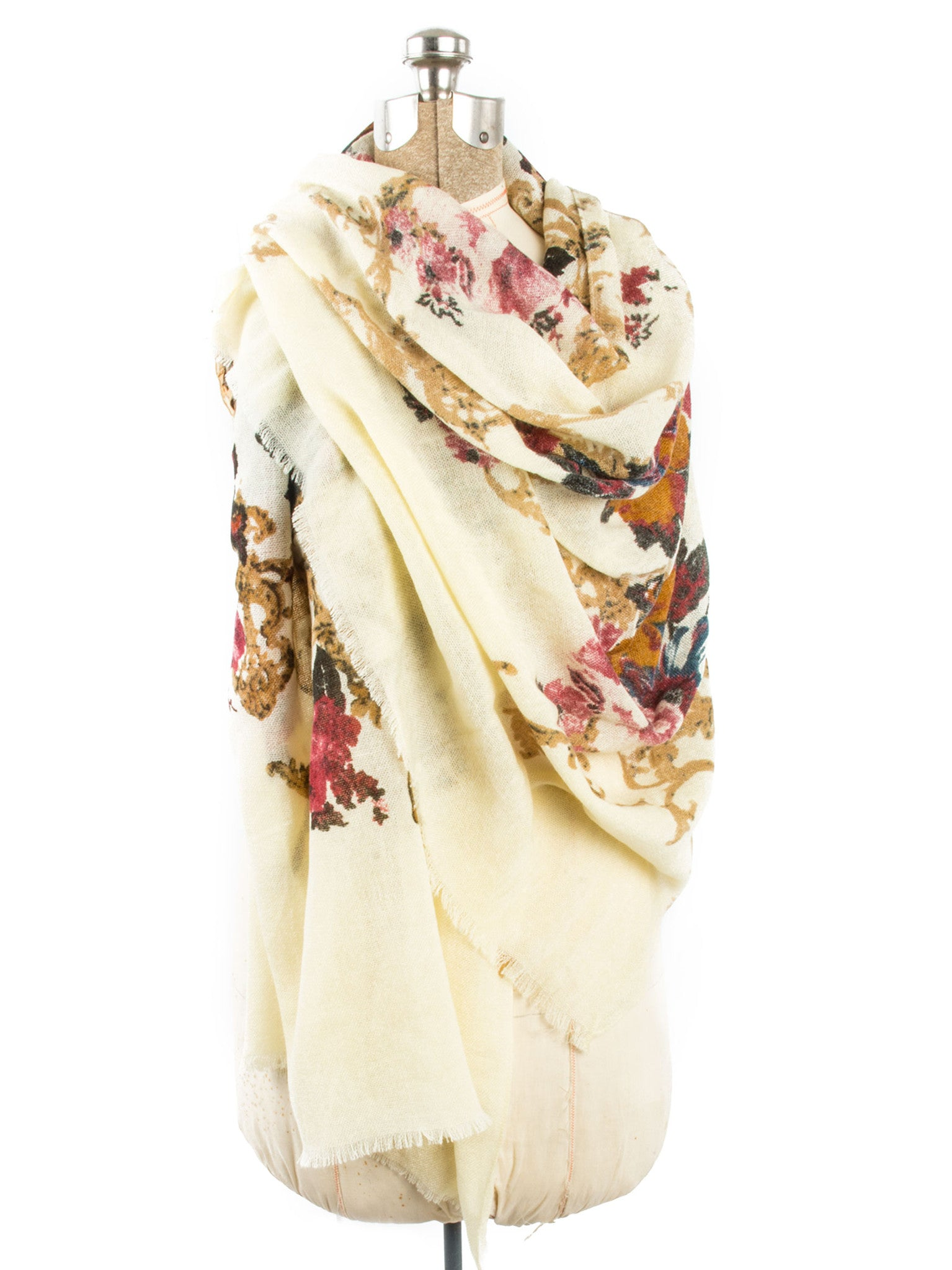 Scarves - Eleanor blanket scarf, oversized winter scarf, floral scarf -() Bohomonde  - 11