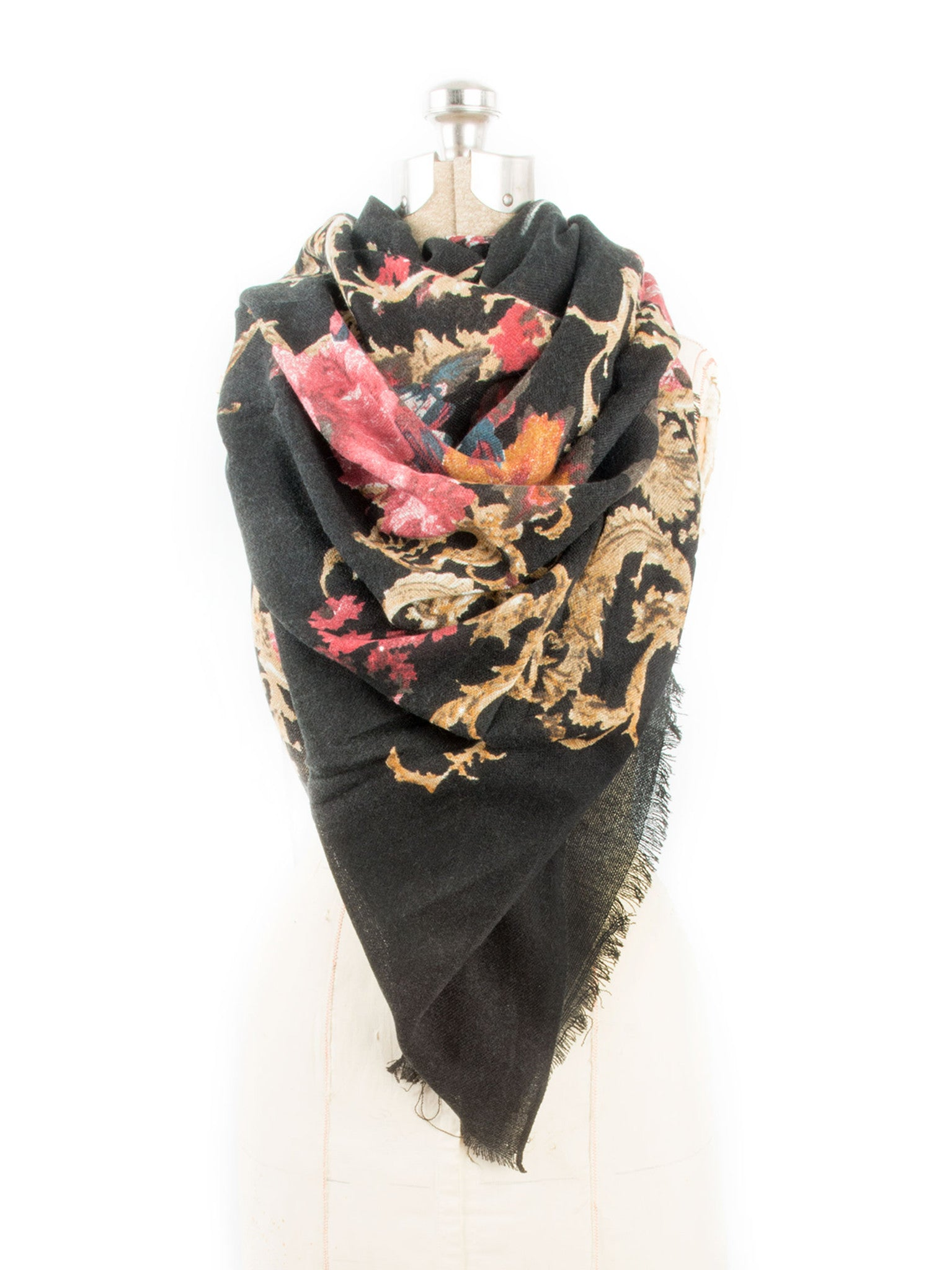 Scarves - Eleanor blanket scarf, oversized winter scarf, floral scarf -() Bohomonde  - 10