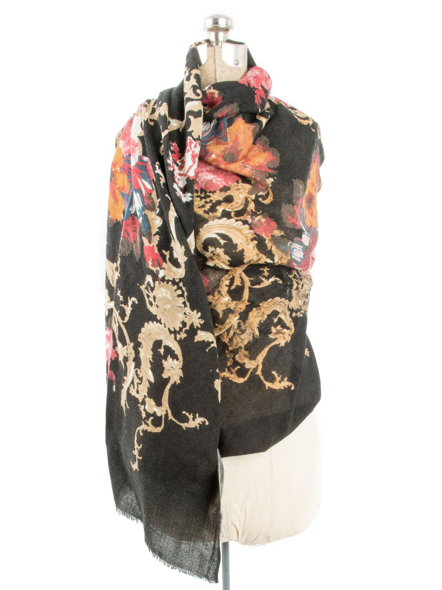 Scarves - Eleanor blanket scarf, oversized winter scarf, floral scarf -() Bohomonde  - 12