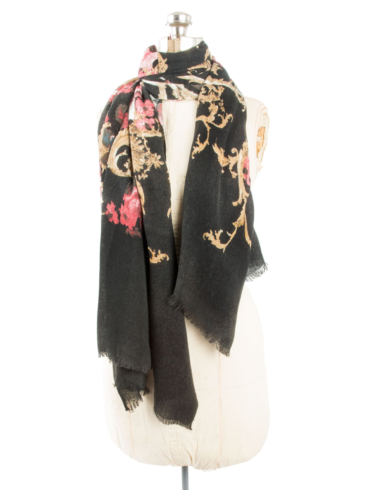 Scarves - Eleanor blanket scarf, oversized winter scarf, floral scarf -() Bohomonde  - 14
