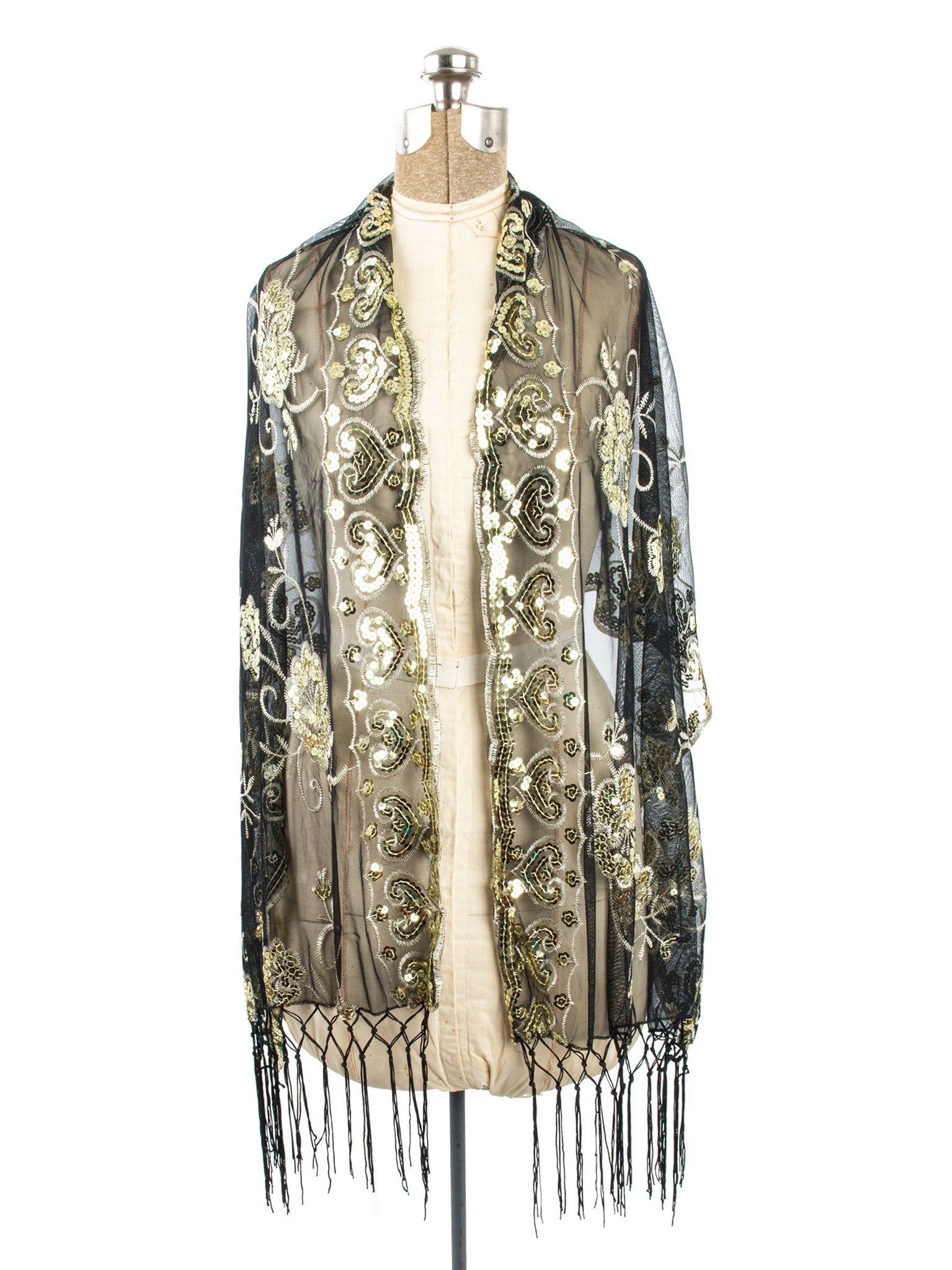 Scarves - Madison Shawl, Long Fringe Sequin Evening Wrap -() Bohomonde  - 23