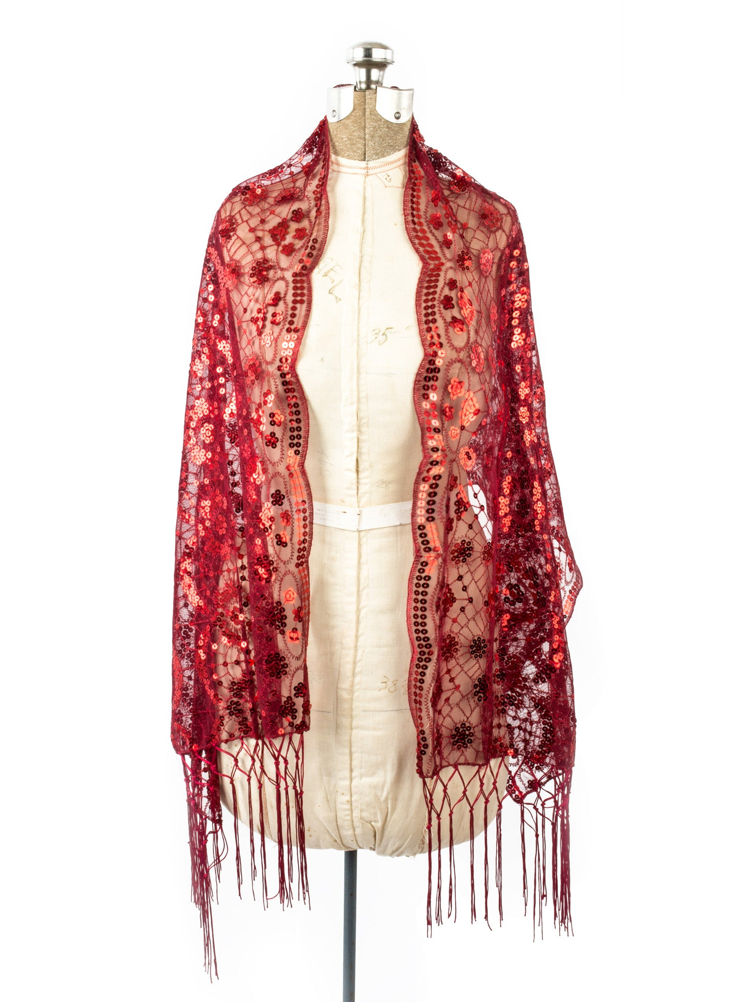 Scarves - Vera, Vintage Inspired Sequin Shawl, Evening Wrap, Embroidered Sequin Fringe Shawl or Scarf -() Bohomonde  - 14
