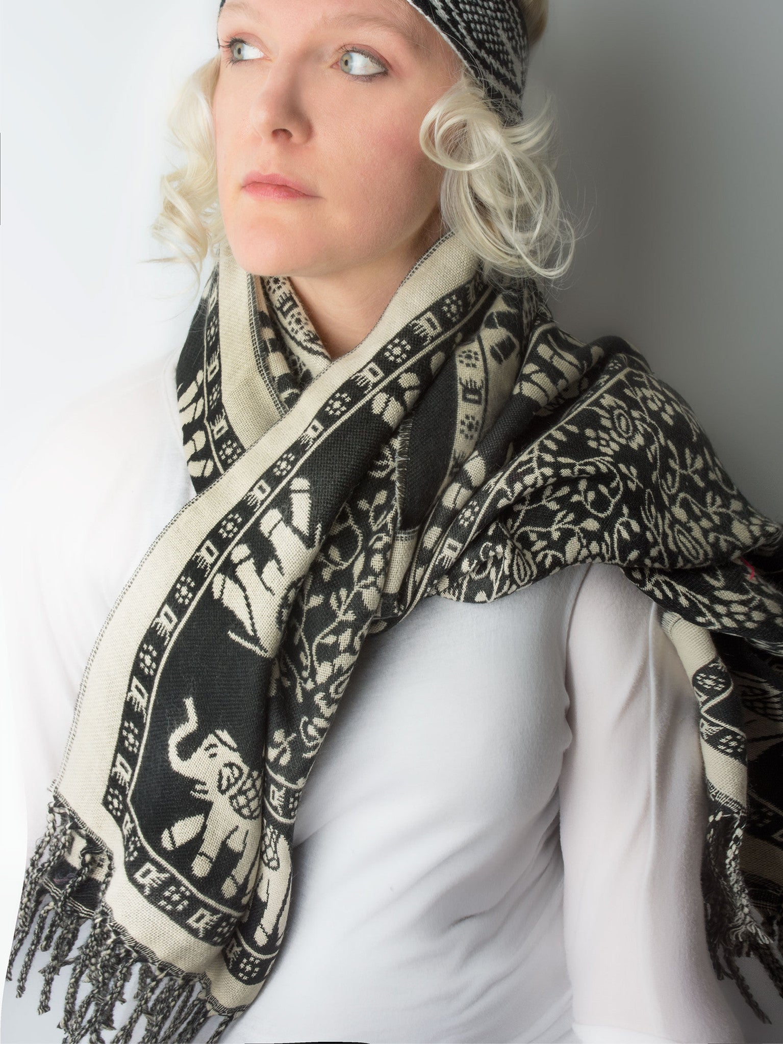 Scarves - Hathi Winter Blanket Scarf, Woven Indian Elephant Design -() Bohomonde  - 2