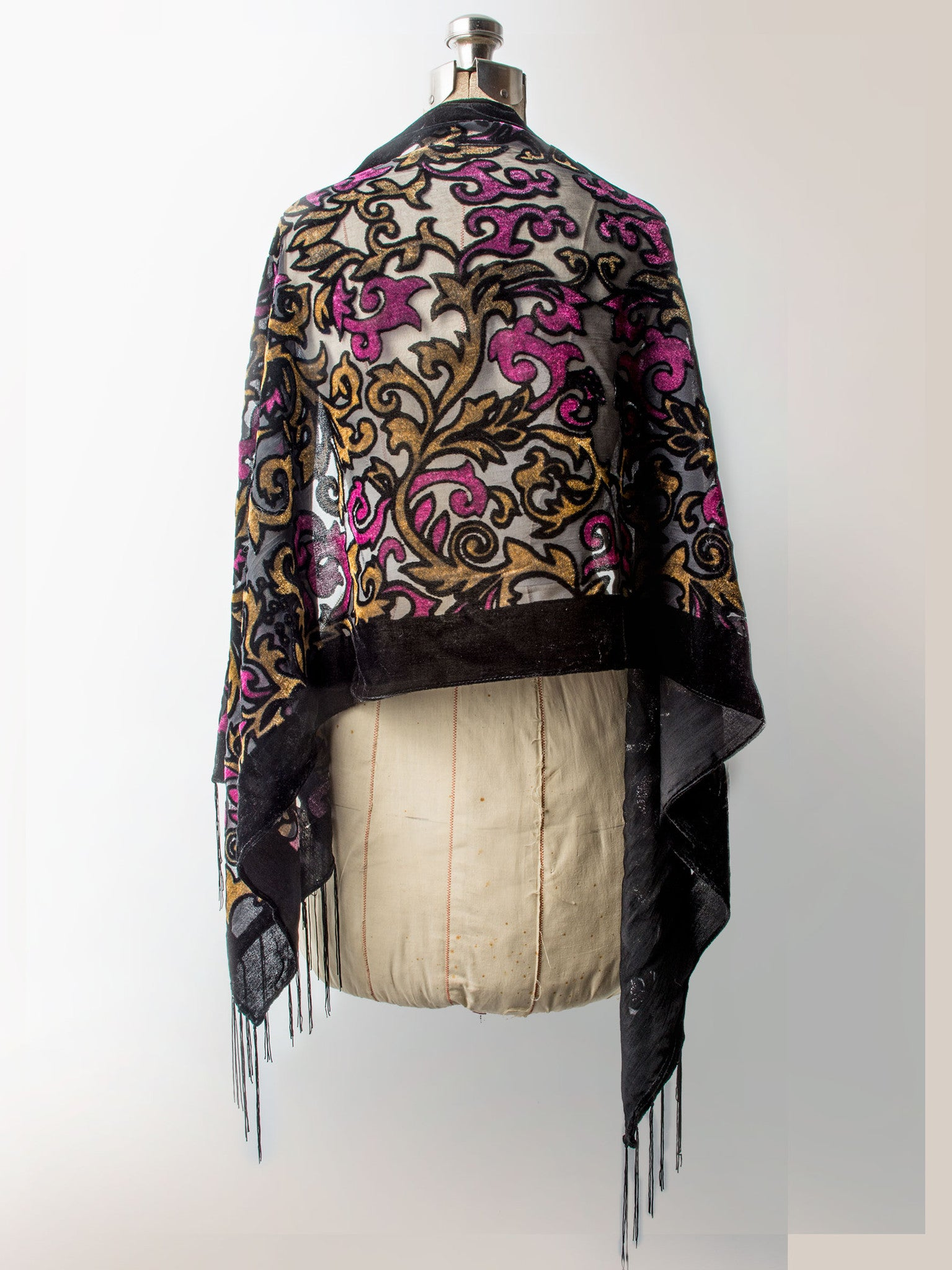 Scarves - Gia Scarf - Silk Brocade Print Velvet Burnout Scarf with Fringe Ends -() Bohomonde  - 2