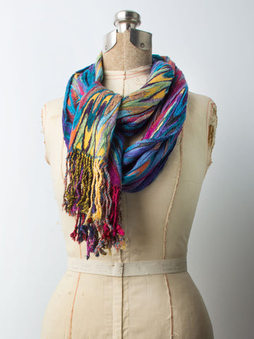 Scarves - Ishia Scarf, Chevron Striped Woven Pashmina Scarf, Hand Made in India -() Bohomonde  - 2