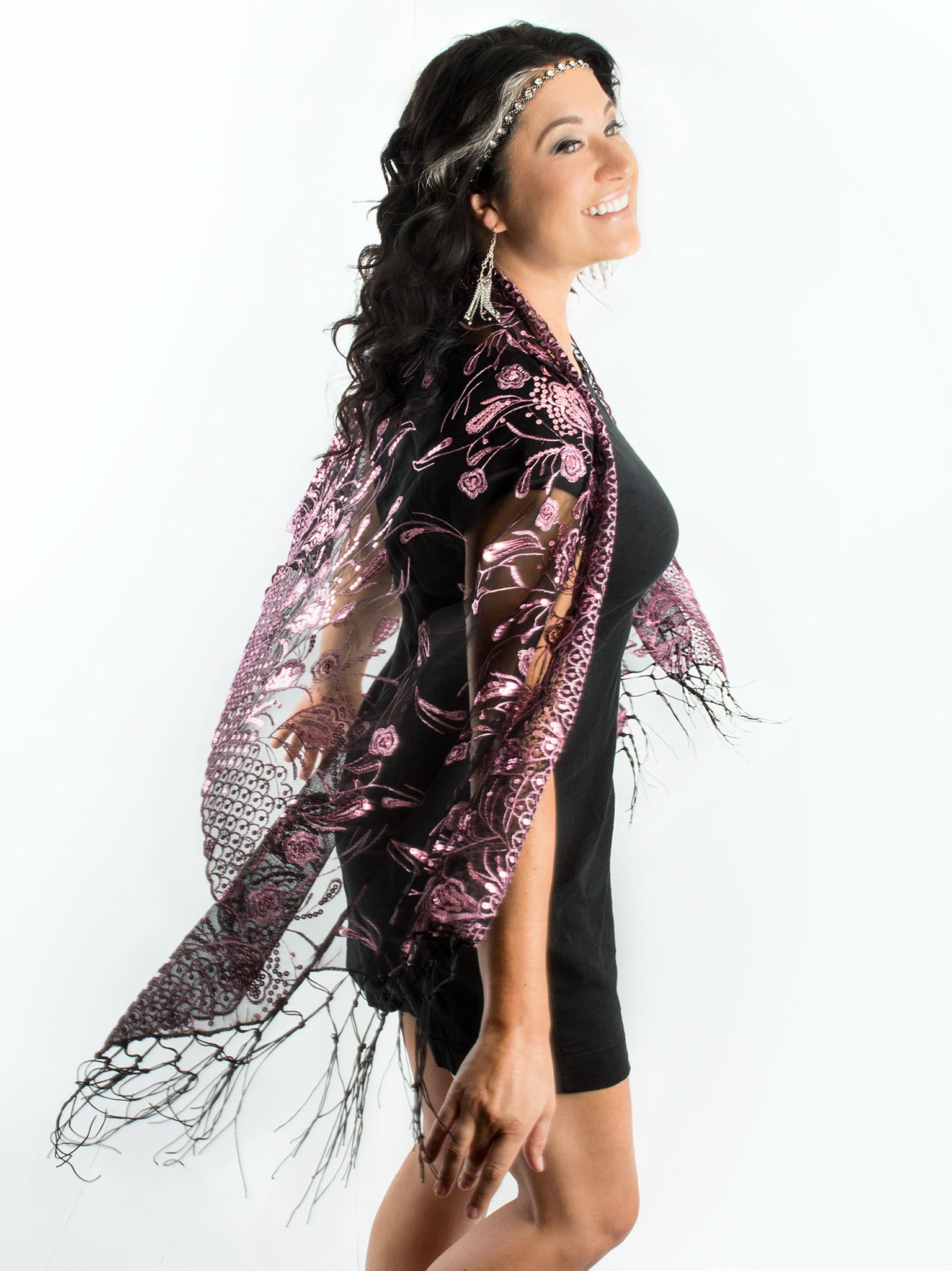 Scarves - Amaryllis Shawl, Vintage Inspired Sequin Evening Wrap, Embroidered Sequin Shawl, Scarf -() Bohomonde  - 8