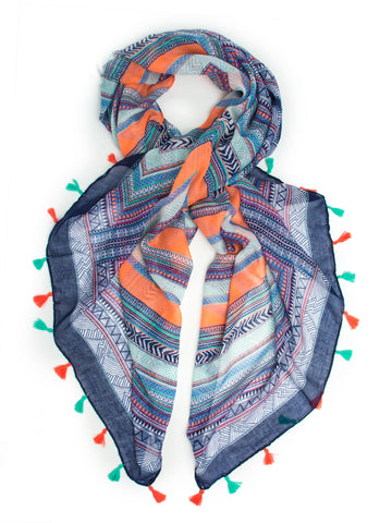 Scarves - Tokala Boho Scarf, Tribal Tassel Sarong or Beach Wrap -() Bohomonde  - 1